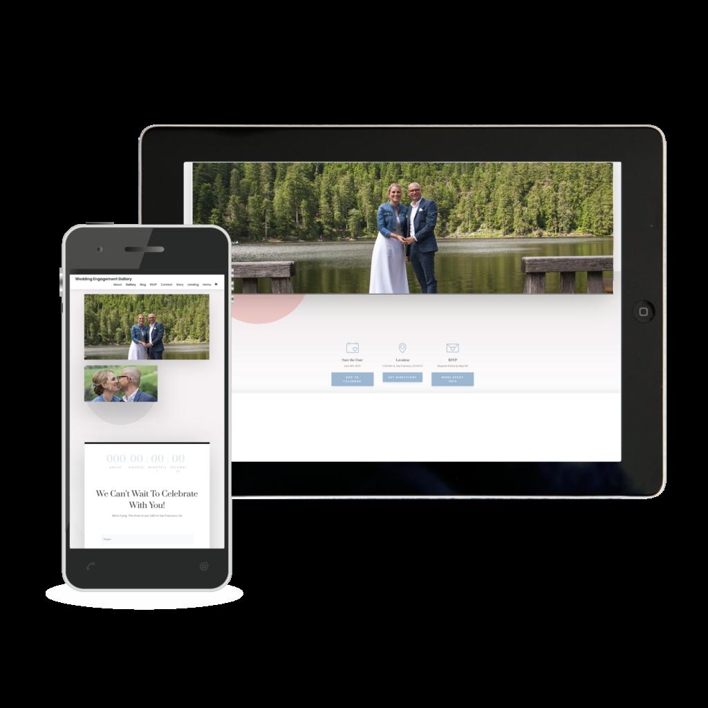 Digitale Einladung angezeigt auf Handy und Tablet