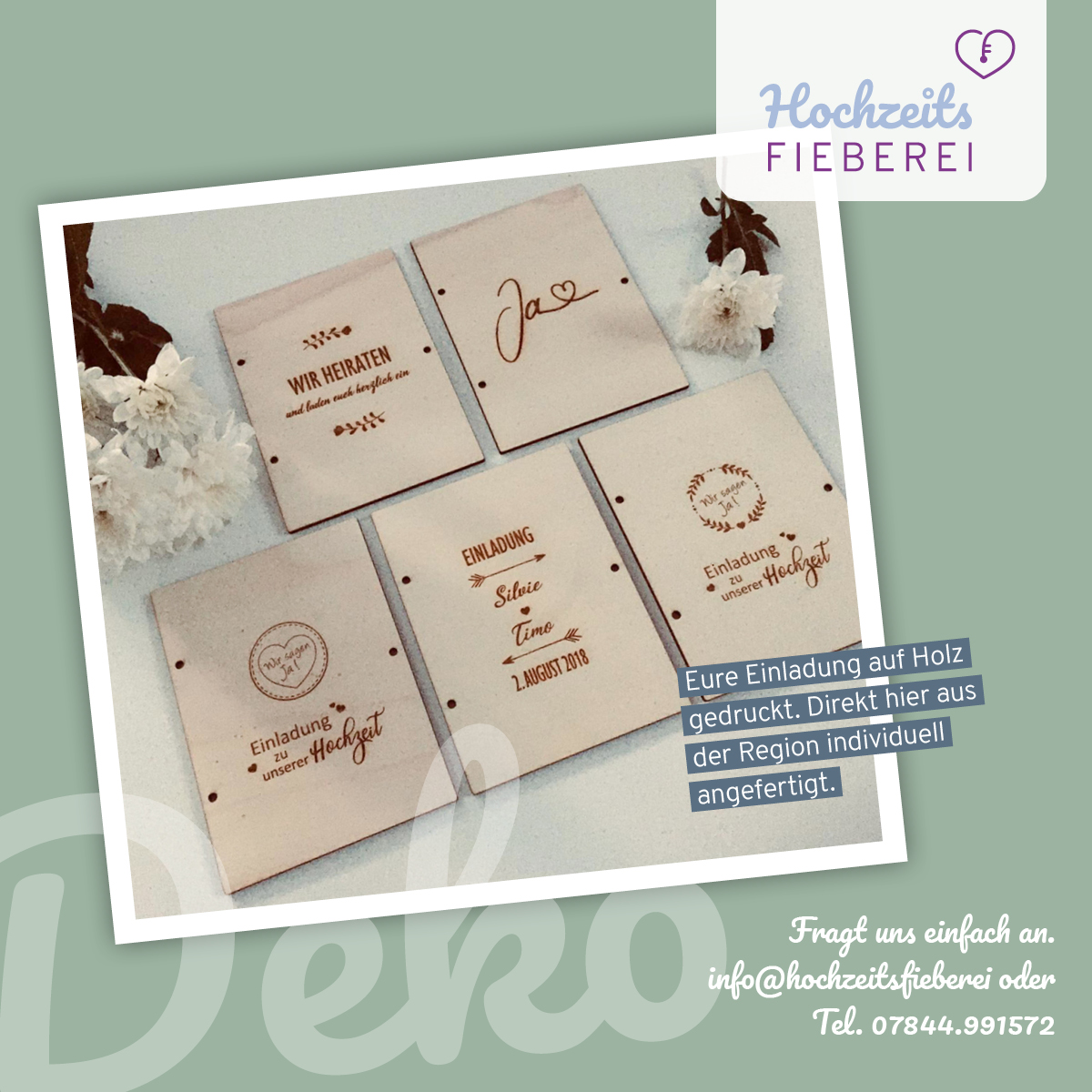 Individuelle Holzeinladung Cover