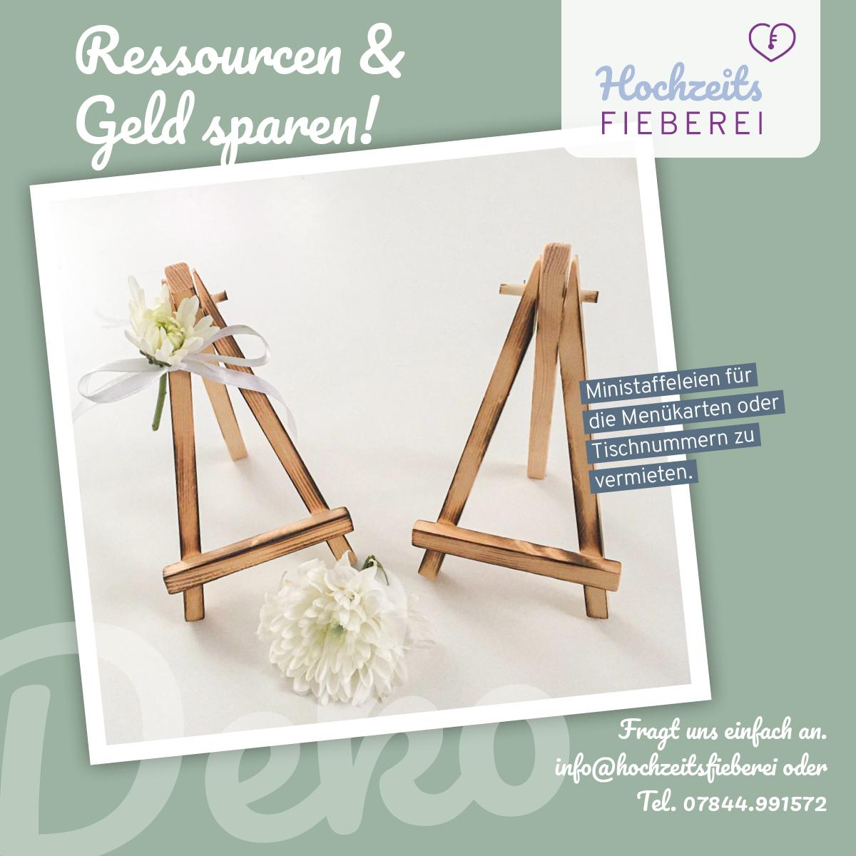Mini Staffeleien aus Holz für Menükarten